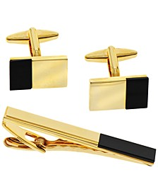 Sutton Stainless Steel Cufflinks and Tie Clip Set