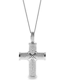 Sutton Sterling Silver Cubic Zirconia Cross Pendant Necklace