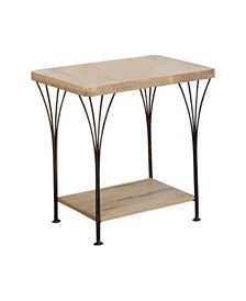 """Alaterre Thetford 21"""" W Weathered Natural Wood and Metal End Table"""