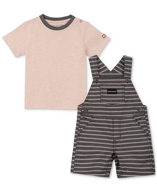 Calvin Klein Baby Boys 2-Pc. T-Shirt & Striped Shortall Set
