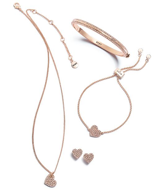 DKNY Rose Gold-Tone Crystal Heart Jewelry Separates