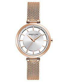 Ladies' Mesh Bracelet with Transparent Dial, 34MM