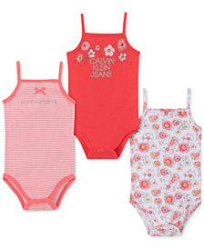Calvin Klein Baby Girls 3-Pk. Floral Bodysuits