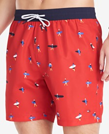 "Tommy Hilfiger Men's Hudson Surfer 6.5"" Graphic Swim Trunks, Created for Macy's"