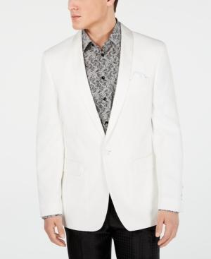 1960s Men's Clothing, 70s Men's Fashion Tallia Mens Slim-Fit White Textured Dinner Jacket $44.99 AT vintagedancer.com