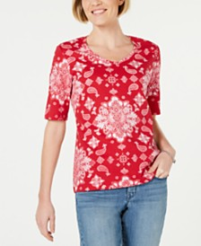 Karen Scott Petite Bandana Lace Printed Top, Created for Macy's