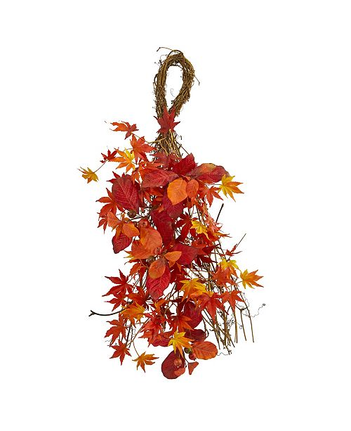 """Nearly Natural 26"""" Mixed Japanese Maple, Magnolia Leaf and Berries Artificial Teardrop"""