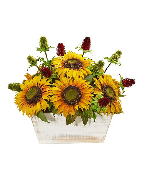 Nearly Natural Sunflower and Thistle Artificial Arrangement in White Wash Planter