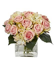 Rose and Hydrangea Bouquet Artificial Arrangement in Vase