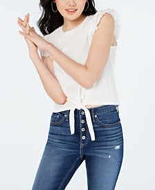 American Rag Juniors' Ruffle-Trimmed Tie-Front Top, Created for Macy's