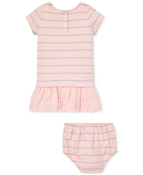 b1424a8bc2 Polo Ralph Lauren Baby Girls Striped Eyelet Cotton Dress & Bloomer ...