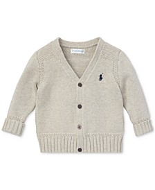 Baby Boys Combed Cotton V-Neck Cardigan