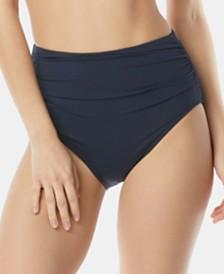 Carmen Marc Valvo Shirred High-Waist Bikini Bottoms