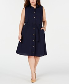 Monteau Trendy Plus Size Belted Shirtdress