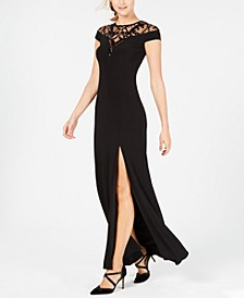 Sequin-Illusion Slit Gown
