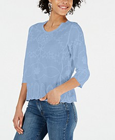 Petite Embroidered 3/4-Sleeve Top