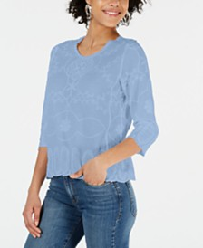 John Paul Richard Petite Embroidered 3/4-Sleeve Top