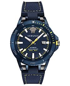 Men's Swiss Automatic Sport Tech Blue Rubber Strap Watch 45mm