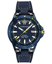 Versace Men's Swiss Automatic Sport Tech Blue Rubber Strap Watch 45mm