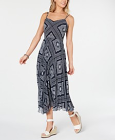 Tommy Hilfiger Pleated Crossback Maxi Dress, Created for Macy's