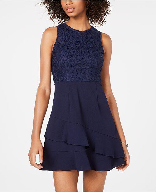 Speechless Juniors' Lace-Trim Ruffled Fit & Flare Dress