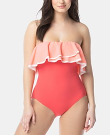 Coco Reef Contours Agate Ruffle Bandeau One-Piece Swimsuit