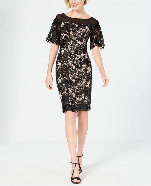 Calvin Klein Embellished Lace Sheath Dress