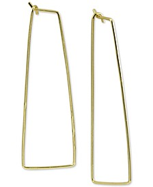 Large Rectangle Large Hoop Earrings  in Gold-Plated Silver