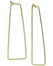 Argento Vivo Large Rectangle Hoop Earrings in Gold-Plated Silver
