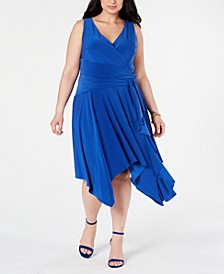 Plus Size Surplice Jersey Midi Dress