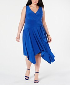 Taylor Plus Size Surplice Jersey Midi Dress