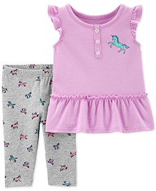 Carter's Baby Girls 2-Pc. Unicorn Top & Capri Leggings Set