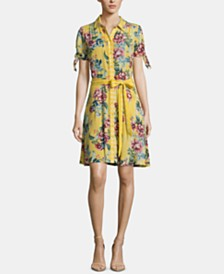 ECI Printed Tie-Sleeve Shirtdress