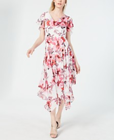 Robbie Bee Petite Floral-Print Draped Midi Dress