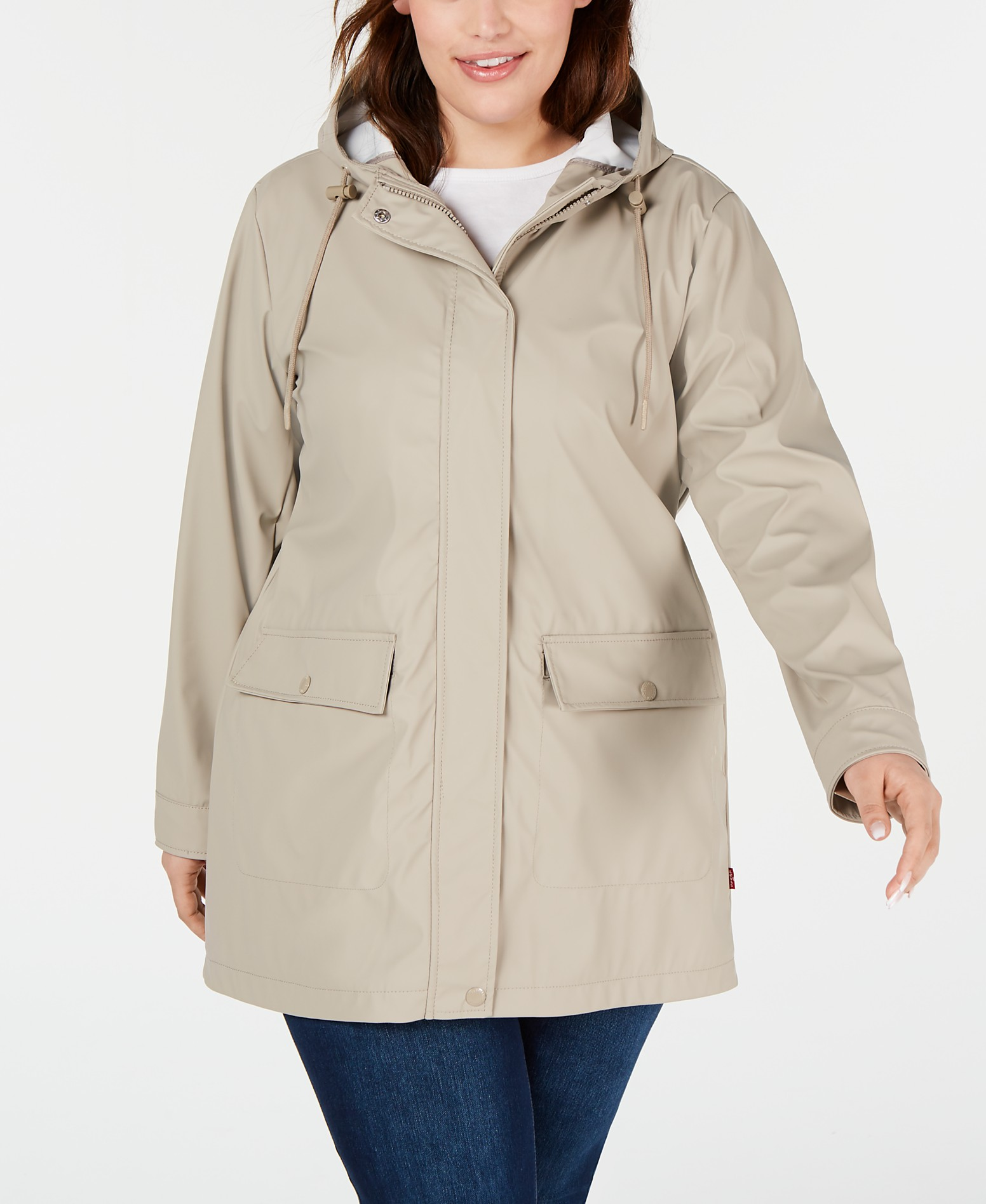 really comfortable new authentic distinctive design Levi's Trendy Plus Size Hooded Raincoat & Reviews - Jackets ...