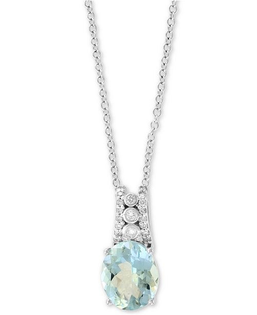 """EFFY Collection EFFY® Aquamarine (2-3/8 ct. t.w.) and Diamond (1/10 ct. t.w) 18"""" Pendant Necklace in 14k White Gold"""