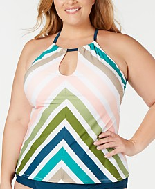 Raisins Curve Trendy Plus Size Juniors' Sonora Islands Printed Underwire Tankini Top