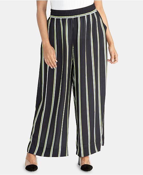 RACHEL Rachel Roy Plus Size Goldie Striped Wide-Leg Pants