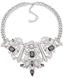 """Givenchy Silver-Tone Crystal & Imitation Pearl Statement Necklace, 16"""" + 3"""" extender"""