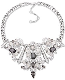 "Givenchy Silver-Tone Crystal & Imitation Pearl Statement Necklace, 16"" + 3"" extender"