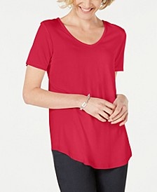 Petite Lattice-Back V-Neck Top, Created for Macy's