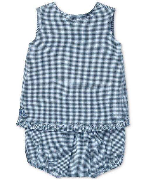 Polo Ralph Lauren Baby Girls Gingham Cotton Top & Shorts Set