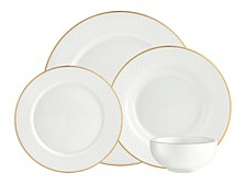 Pique Gold 16-PC Plain Dinnerware Set, Service for 4