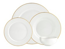 Godinger Pique Gold 16-PC Plain Dinnerware Set, Service for 4