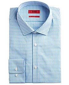 HUGO Men's Slim-Fit Green/Blue Gingham Check Dress Shirt