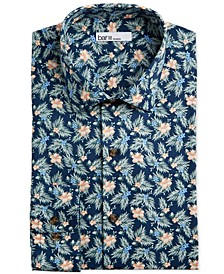 Men's Classic/Regular-Fit Tropical Hibiscus-Print Dress Shirt, Created for Macy's