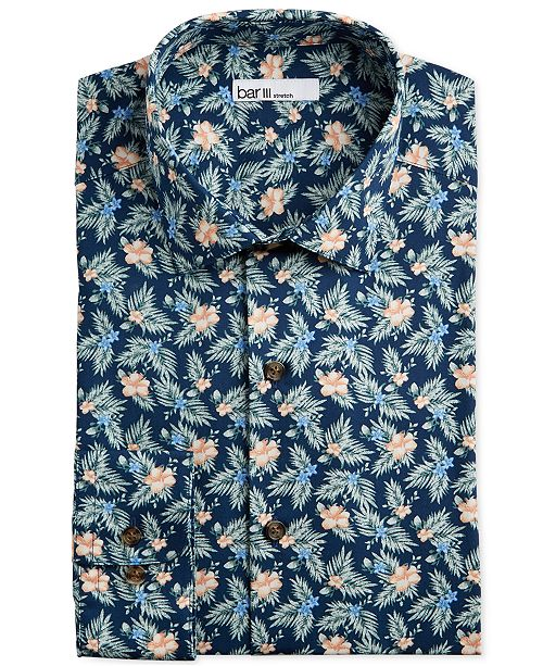 Bar III Men's Slim-Fit Stretch Tropical Hibiscus Dress Shirt, Created for Macy's