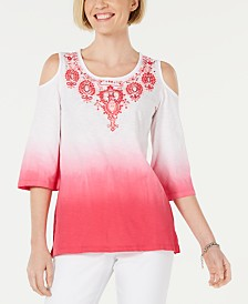 JM Collection Cotton Ombré Cold-Shoulder Top, Created for Macy's