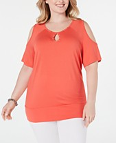 394f9f37aa9 JM Collection Plus Size Studded Cold-Shoulder Top, Created for Macy's