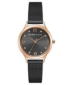 Ladies Black Mesh Bracelet Watch with Rose Gold Case